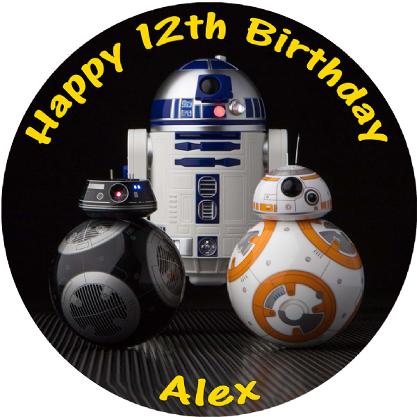 Awe Inspiring Star Wars Last Jedi Bb8 R2D2 Bb9E Personalised Round Edible Birthday Funny Birthday Cards Online Bapapcheapnameinfo
